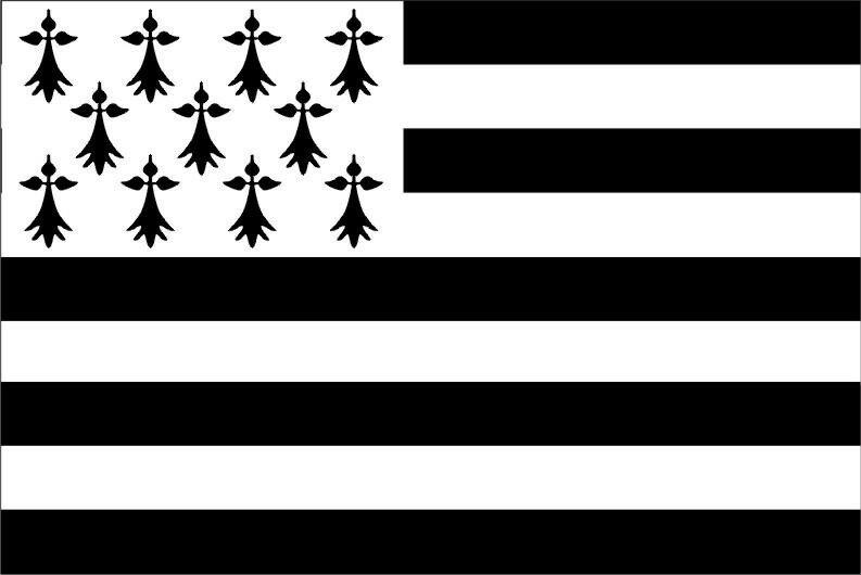 Drapeau national breton contemporain Gwenn-ha-Du