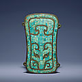 A very rare turquoise-inlaid bronze plaque, erlitou culture, circa 1900-1600 bc