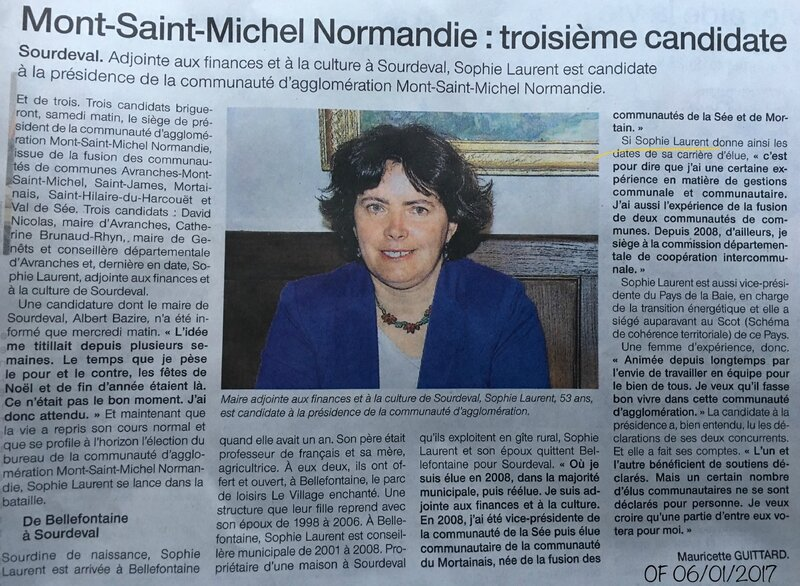 Sophie Laurent candidature communauté agglomération Mont-Saint-Michel Normandie 2017 OF 06-01-2017