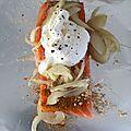 Papillote de saumon au miel, curry et gingembre / carottes mijotées au vin et aux raisins.