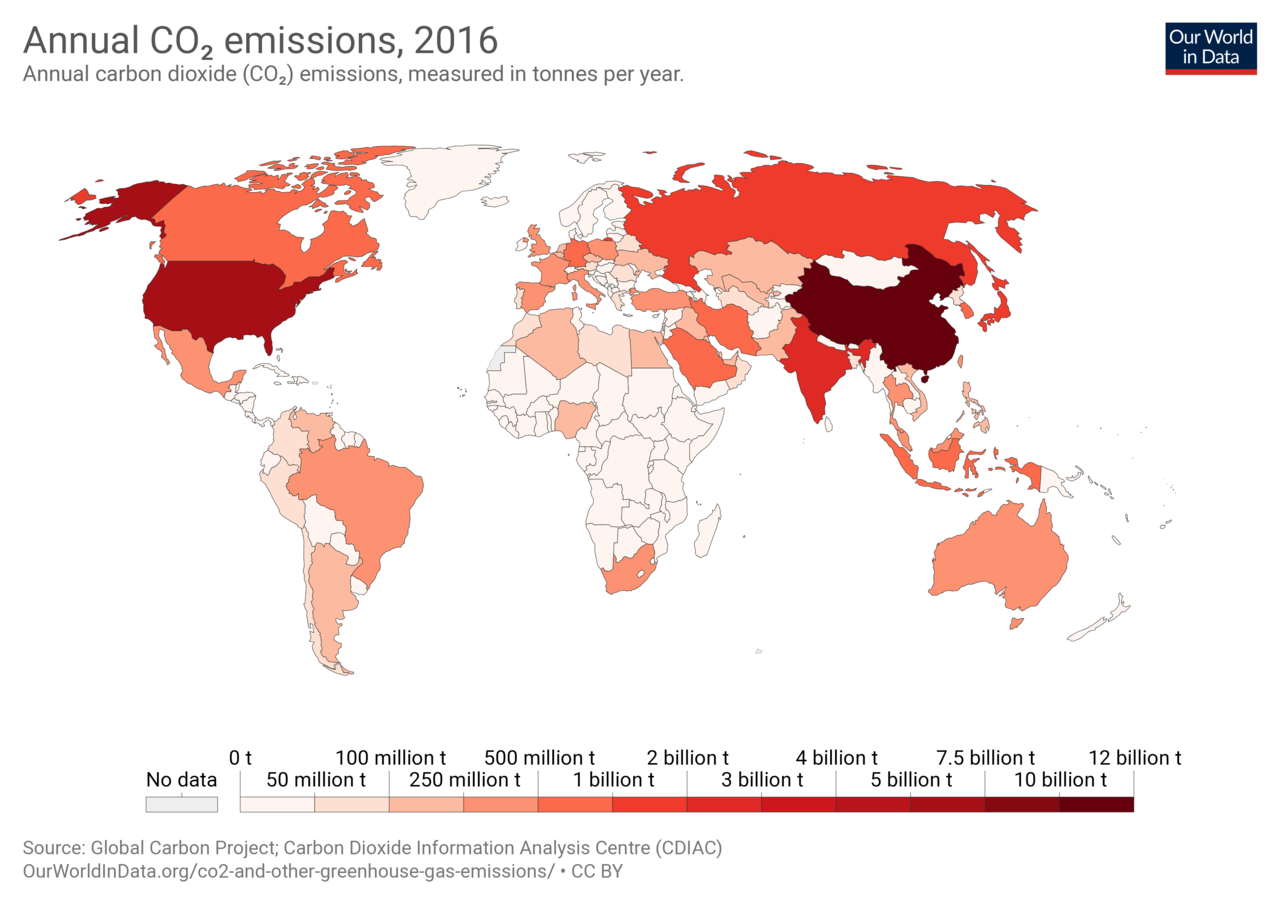 Co2 emissions per country 2016