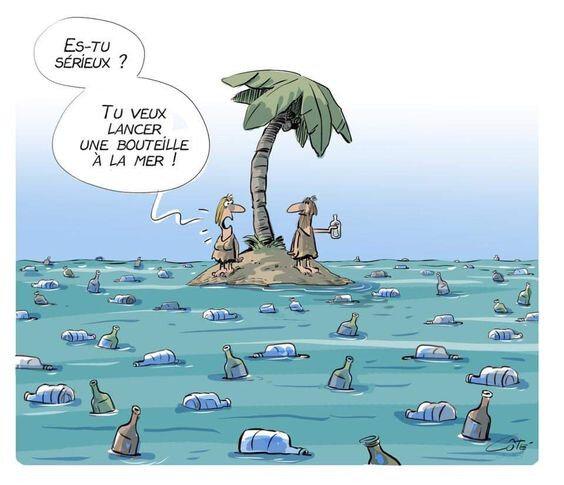 humour pollution plastique environnement océan