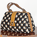 Vintage ... sac a main chic * blanc noir or