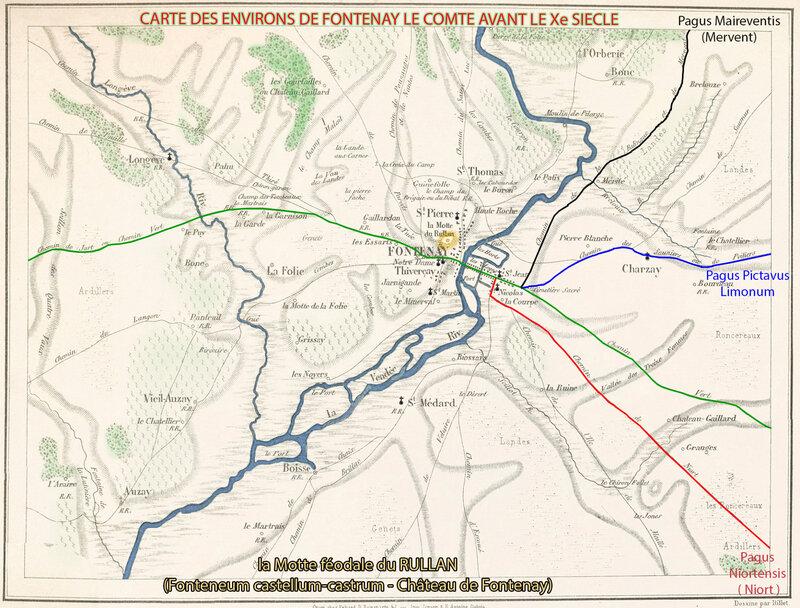 Carte La Motte féodale du RULLAN (Fonteneum castellum-castrum - Château de Fontenay)