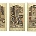 A rare set of three suzhou prints, qianlong period, by guan ruiyu