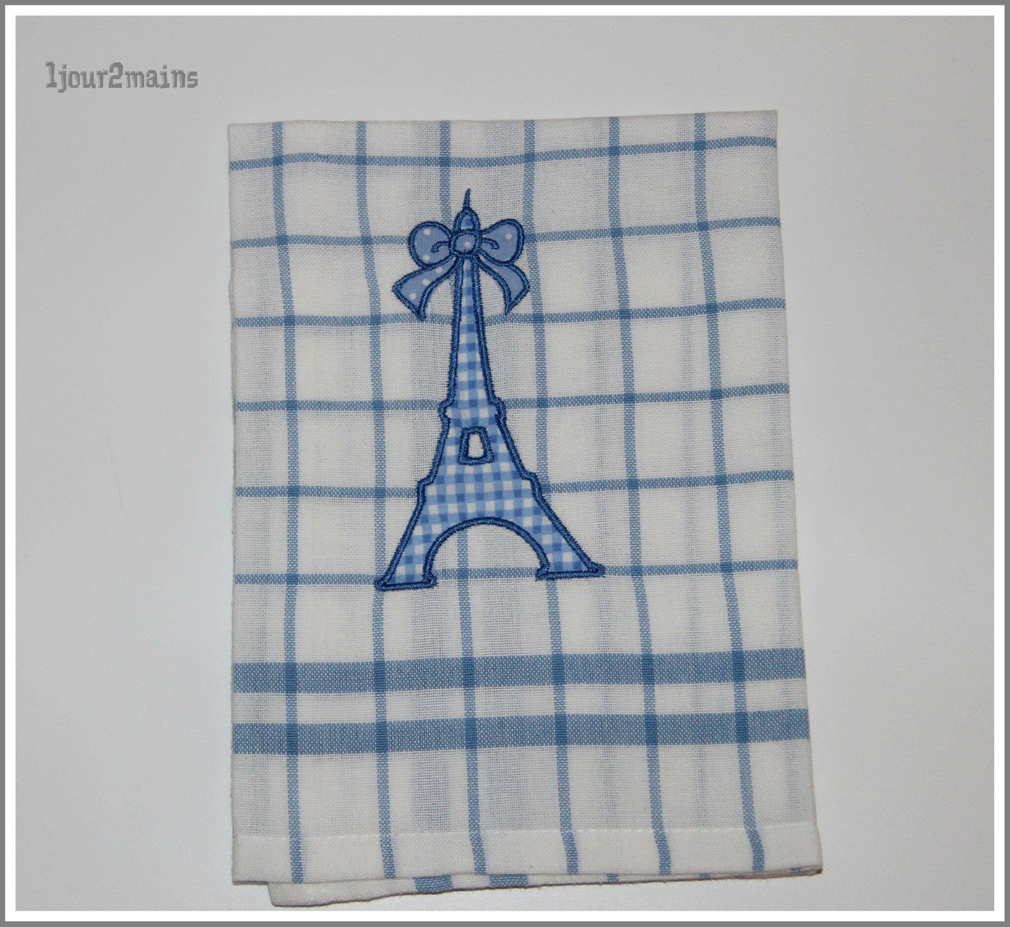 torchon tour Eiffel Bleue