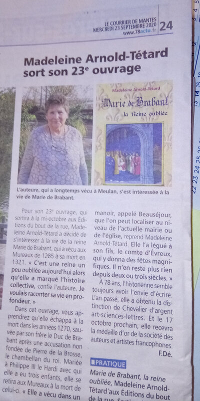 article presse COURRIER DE MANTES