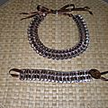 collier et bracelet avec ruban de satin marron
