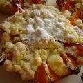 tartelettes aux abricots, streusel, crème d'amandes