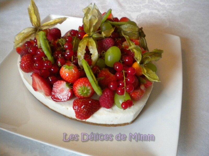 Cheesecake en cœur aux fruits frais 2