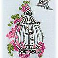 Petit Cadre Broderie fleurs et cage oiseau charms 4,5x5,5x6x7,5cm 3