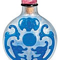 A blue glass overlay snuff bottle, 18th century