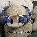 Un côté arctique pour ce bracelet gris bleu en cordon liberty, orgranza, cuir et chaîne