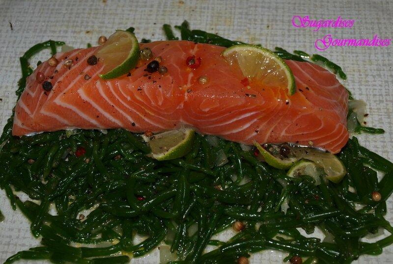 salicorne saumon dressage papillottes