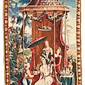 A french chinoiserie tapestry panel, depicting 'the empress's tea', second quarter 18th century, beauvais