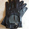 A2276 : gants motard cuir noirs