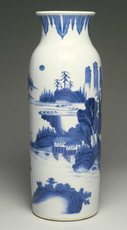 A blue and white 'landscape' sleeve vase, Ming dynasty, Chongzhen period (1627-1644)