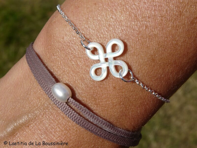 Bracelet Arabesque nacre (sur chaîne argent massif)