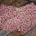 Culotte BIANCA en coton rose imprimé fraises - noeud de vichy vert (2)