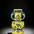 A very rare ming-style yellow-ground blue and white facetted vase, yongzheng six-character mark and of the period (1723-1735)