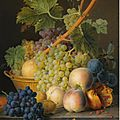 Jan frans van dael (antwerp 1764 - 1840 pais), a still life with grapes and peaches in a basket, an open pomegranate, plums, ...