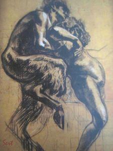 Silène et Bacchus charbon sur papier 1910