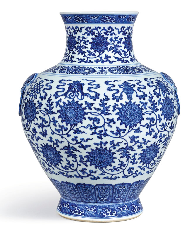 A fine and large blue and white 'bajixiang' vase, hu, seal mark and period of Qianlong (1736-1795)