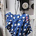 Culotte BIANCA en coton bleu à gros pois blancs - noeud de vichy rouge (3)