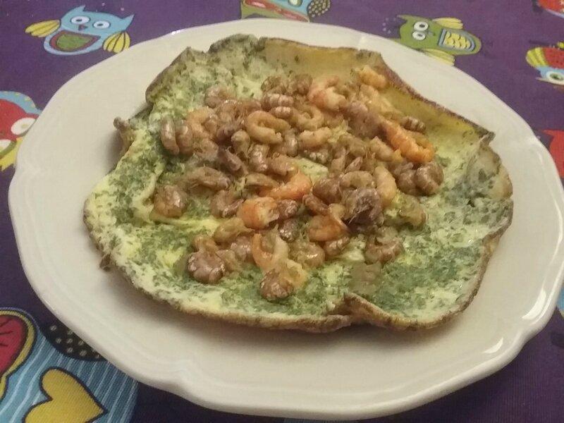 Omelette aux crevettes grises et roses1