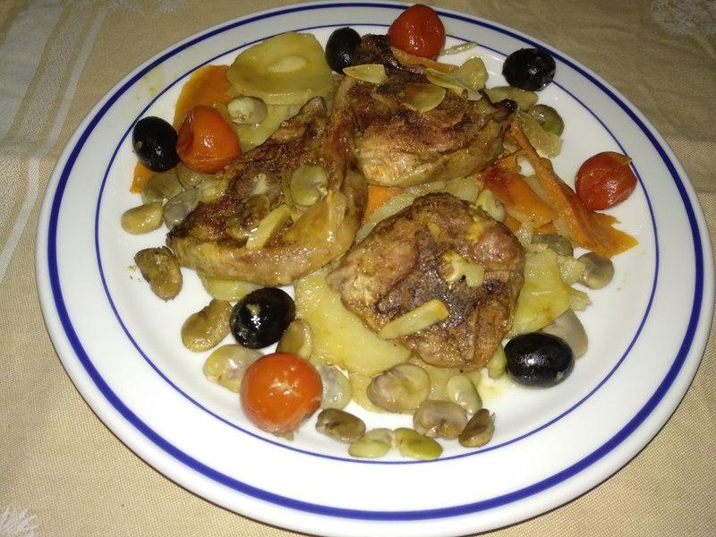 Tajine d'agneau et fèves aux pommes de terre et au citron confit