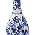 A blue and white bottle vase, 17th century