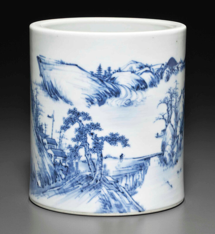 A blue and white brush pot, bitong, Guangxu six-character mark in underglaze blue and of the period (1875-1908)