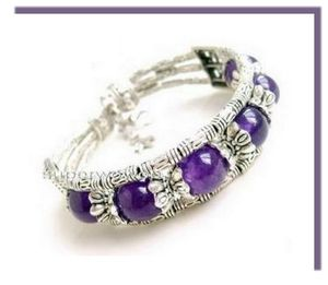 1 RoseBracelet Ethnique Horizon 6 Perles Jade Purple 10 mm Argent du Tibet