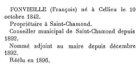 Fonvieille adjoint au maire Saint-Chamond 1892