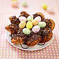 Nid de pâques aux madeleines et son coeur de mousse au chocolat pour pâques