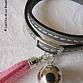 Bracelet Pompon gris (pompon rose) - détails