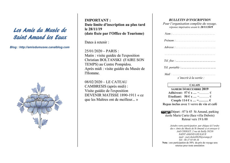 bulletin d'inscription CALAIS 14