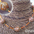 Collier FIMO multi et tubes orange (N)