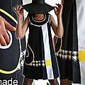 Robe trapèze Chasuble de style Sixties Noire/ Blanc/ jaune Vif