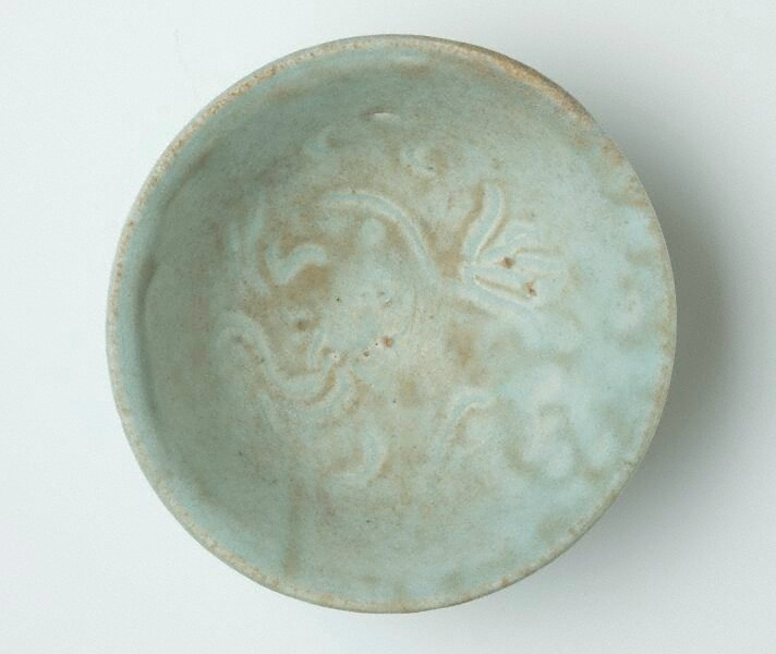 Bowl with carved decoration, Qingbai ware, Yingqing ware, China, Song dynasty (960 - 1279), Jingdezhen ware, Jiangxi Province, stoneware with 'qingbai' glaze, 6.2 x 15.5 cm. Bequest of Eleanor Hinder through her executors 1975. 273.1975. Art Gallery of Ne