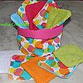 Corbeille de 10 lingettes épaisse lavable double épaisseur d'éponge colorées à pois