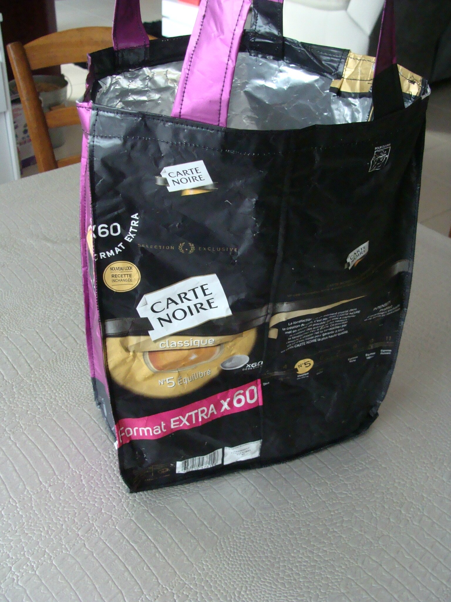 sac avec emballage dosettes à café
