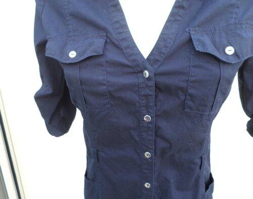 Robe ou Tunique Bleu Marine Manches Mi-Longues Love Mango basic Taille S