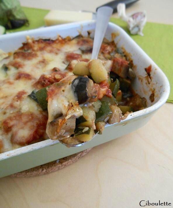 Gratin aubergines & courgettes à l'abondance