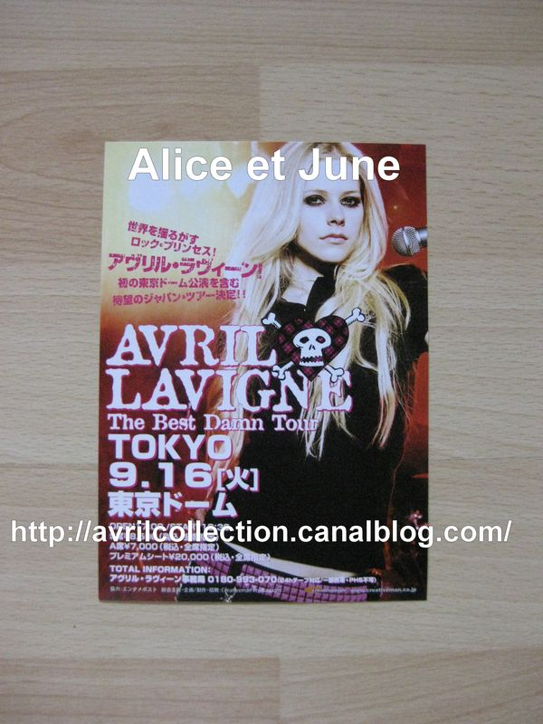Mini Fiche Promotionnelle Japonaise - The Best Damn Tour Tokyo