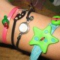 Un ruban, une étoile et un bouton en fimo et voilà un bracelet
