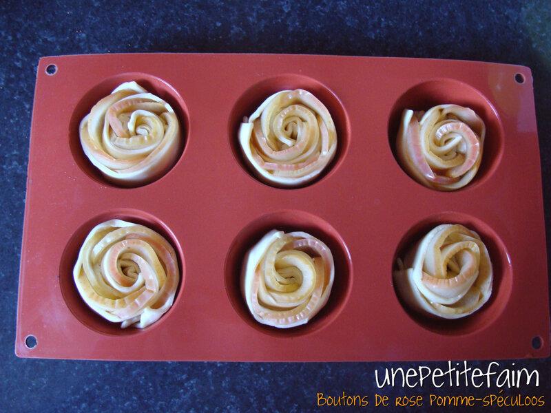 Boutons de rose pomme spéculoos - ds moule à muffins