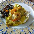 Daurade et moules au curry safrane