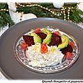 Salade de tourteau avocat, betterave au tartare d'algues