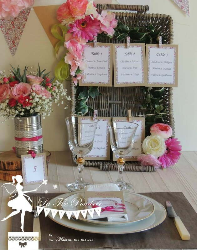 decoration mariage theme shabby chic moulins menu marque place kraft dentelle ruban satin rose fuchsia liberty plan de table